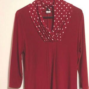 Red Polka Dot Tunic, Silky Tunic. V-neck tunic